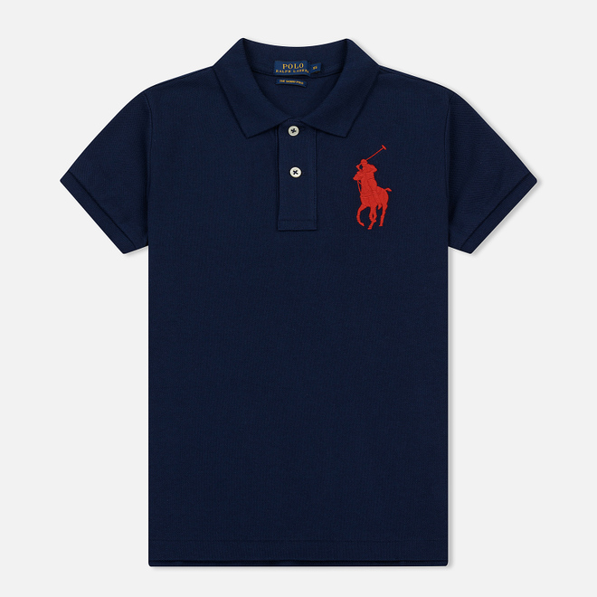 Женское поло Polo Ralph Lauren Embroidered Big Logo Slim Fit Newport Navy