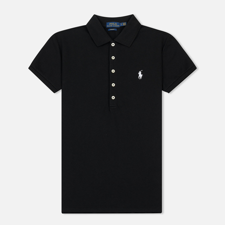 Женское поло Polo Ralph Lauren Embroidered Logo Slim Fit Black/White