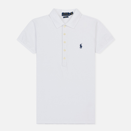 Женское поло Polo Ralph Lauren Embroidered Logo Slim Fit White