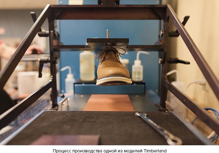 Процесс производства одной из модели Timberland