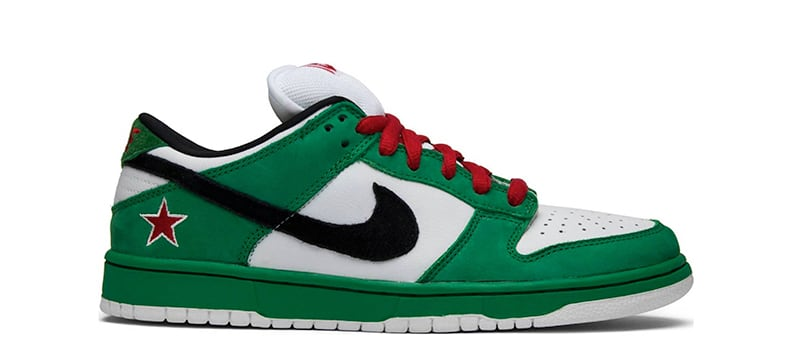 Скандальная расцветка Nike SB Dunk Low Heineken