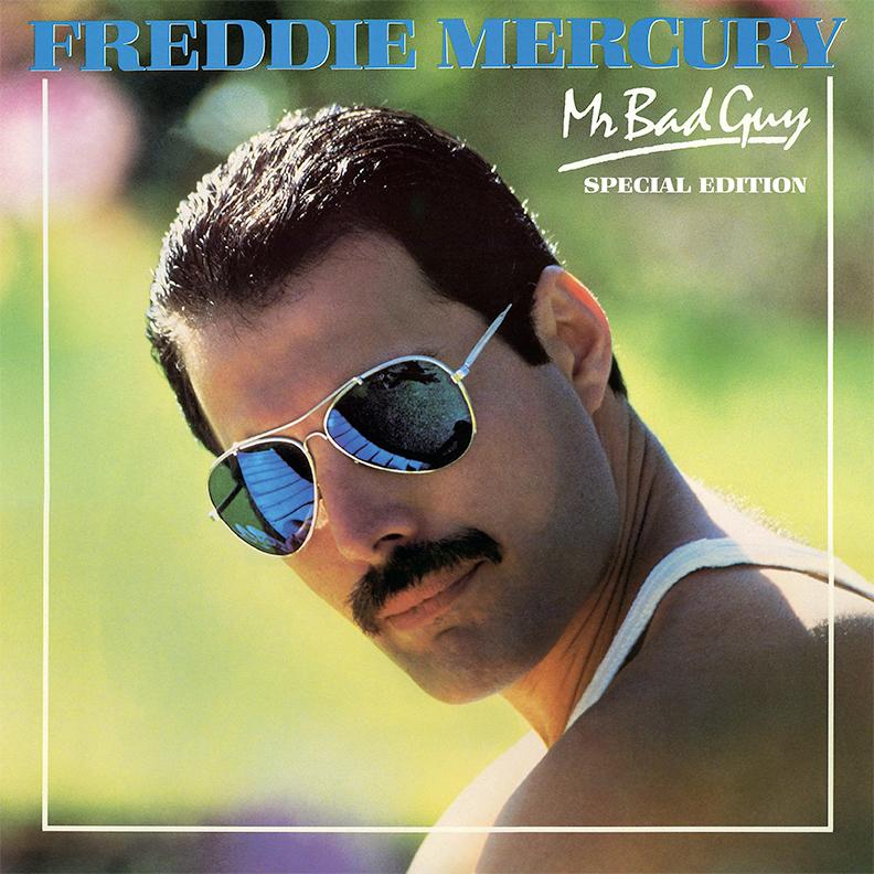 Фредди Меркьюри в очках «авиаторах» на обложке дебютного альбома Mr Bad Guy