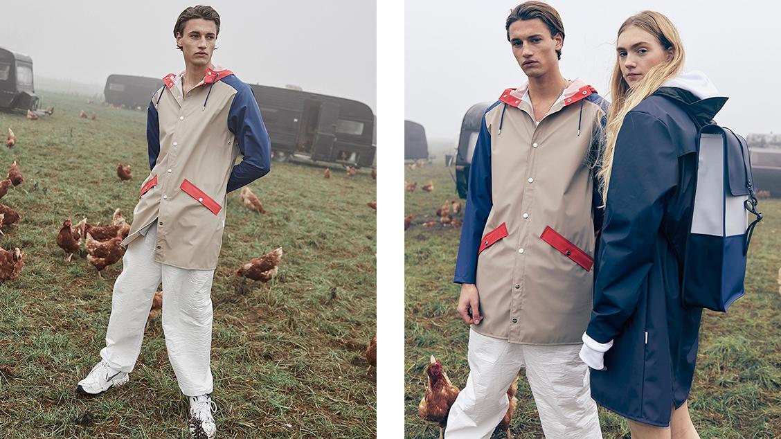Коллекция Rains с ярким колорблокингом, вдохновленная уличной модой 1980-х и 90-х годов