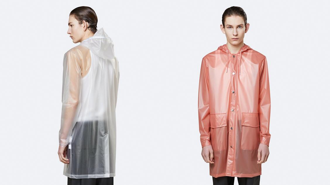 Удлиненный дождевик Rains Transparent Hooded
