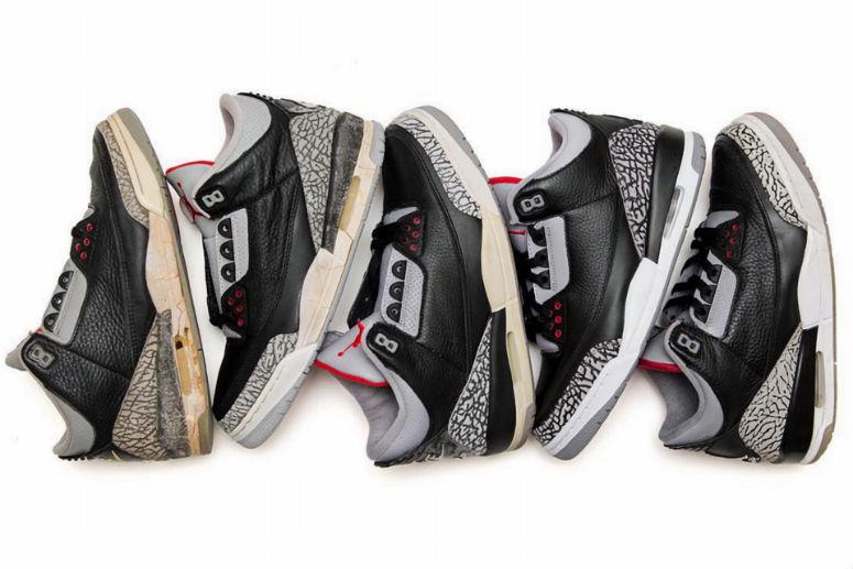 Модели Air Jordan3 «Black Cement» с1988 по2011 годы