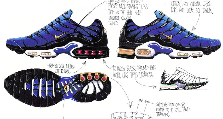Наброски дизайна Nike Air Max Plus